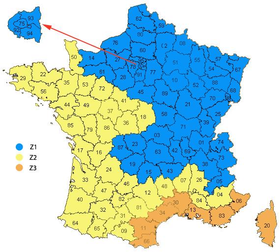 carte de france zone de chauffage coefficient correcteur - Calcul Puissance Radiateur Salle De Bain